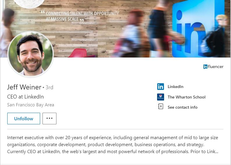 Jeff Weiner's LinkedIn Profile