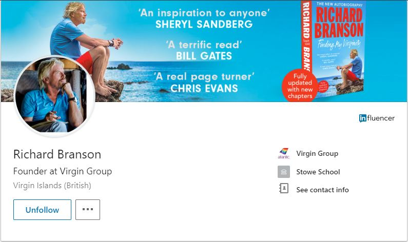 Richard Branson's LinkedIn Profile